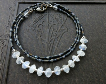 Dainty Moonstone Necklace, rustic everyday Bohemian jewelry in white, gray and silver, handmade feminine necklace