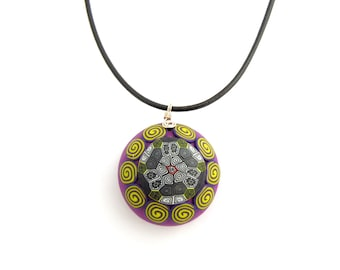 Spiral Kaleidoscope Chunky Pendant, Violet, Yellow, Polymer Clay, Sterling Silver, Leather, Supremily Jewellery