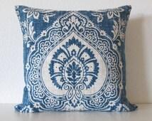 Mediterranean bohemian floral damask blue gray decorative pillow cover