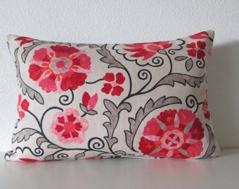 Jaclyn Smith - Pillow cover - Suzani - Redbud - Pink Floral - decorative pillow cover - Lumbar pillow cover