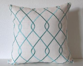 Embroidered Lattice Aqua Pillow Cover