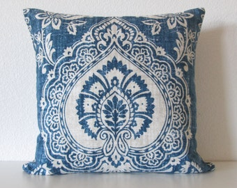 Mediterranean bohemian floral damask blue gray decorative pillow cover