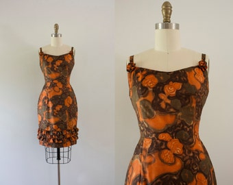 1960s Golden Bombai floral bomshell wiggle dress / 60s safari rose