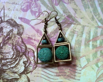 Teal, Turquoise and Brass Earrings (1829)