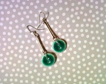 Teal Button Earrings (2208)