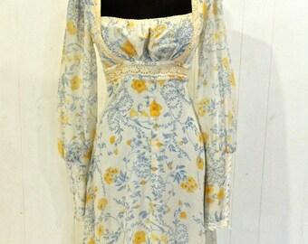 vintage Gunne Sax dress - 1970s Jessica San Francisco floral peasant long maxi dress