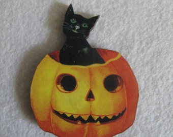 Jack-o-Lantern with Cat Needle Minder with double magnet by cheswickcompany