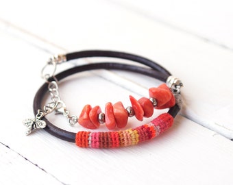 Double Layered Leather Bracelet Orange Coral, Gemstone Bracelet, Boho Wrap Bracelet Vivid Orange