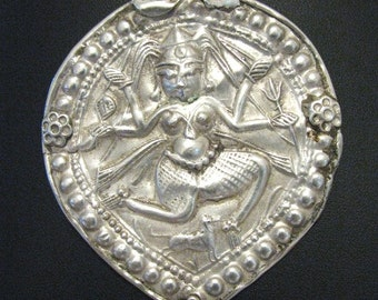 Antique Indian Amulet, Ethnic Tribal, Old Indian Amulet, Old India Pendant, Goddess Kali,  Rajasthan, India, High Grade Silver, 21.3Grams