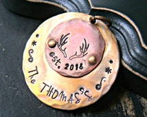 Personalized Christmas Ornament - Couples Ornament - Christmas Ornament - Personalized Ornament - Hand Stamped Ornament - Antler Ornament