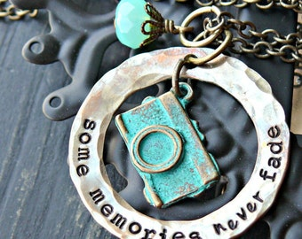 Hand Stamped Jewelry - Hand Stamped Necklace - Camera Necklace - Photographers Jewelry - Patina Turquiose Camera Charm