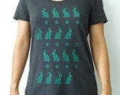 Sale - Bunny Rabbit Women's T-Shirt Teal/Turqoise on Coal Black