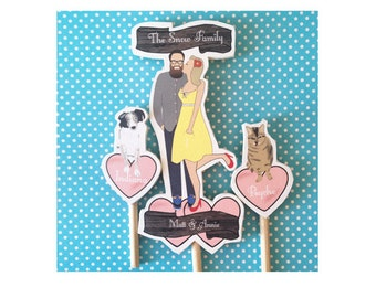 Custom Wedding Cake Topper with pets Dog Cat Bride and Groom Wooden