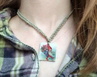 GARDEN GNOME Hemp Necklace Plastic New - You Choose One