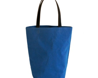 Cobalt Blue Canvas Cotton Day Tote  with Bridle Leather Straps