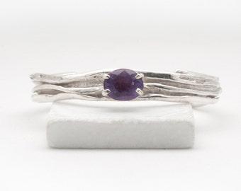 Amethyst Bracelet, Unique Silver Statement Hand Sculpted Cuff Natural Big Amethyst, February Birthstone Bracelet, High Fashion Jewelry