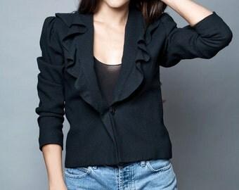 vintage 70s ruffle collar blazer jacket top black wool M