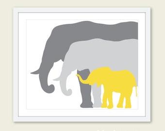 Elephant Art Print / Nursery Elephant Art Print / Yellow and Gray Nursery Decor / Mother Father and Baby Elephant Print /