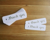 THANK YOU TAGS, stamped gold, set of 10 - handmade, hand stamped, rounded edges, heavy cardstock, hole punched, calligraphy, party favors