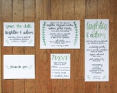 custom wedding suite, green ivy - save the date, invite, rsvp card, program, thank you card, lined envelopes, wedding invitations, event