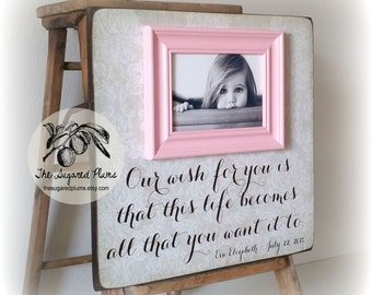Personalized Baby Gift, Baby Girl, Goddaughter Gift, Baptism, Christening, Our Wish For You, Picture Frame, 16x16 The Sugared Plums Frames