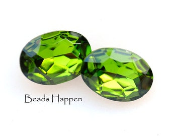 14x10mm Olivine Olive Green Oval Glass Stones, 14x10 Ovals, Green Ovals, Olive Green, Olives, (H1-R7-C3), Quantity 2