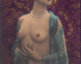 Hand-Decorated French Nude III, circa 1920s, by SOL