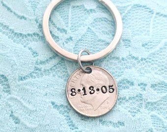10th Anniversary gift... personalized date, dime, hand stamped keychain