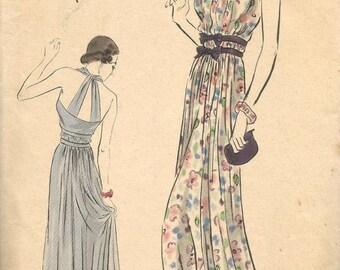 1930s Evening Dress Halter Top Criss Cross Straps Shirring Vogue Special Design Vogue S-3990 Bust 32 Women's Vintage Sewing Patterns