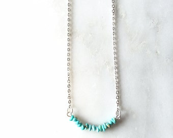 Raw Turquoise Bead Bar Necklace, Dainty Turquoise Stone Necklace, Tiny Bead Layering Necklace
