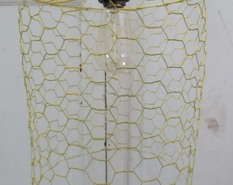 Yellow Chicken Wire Lamp, Chicken Wire Lamp, Hanging Lamp, Loft Lamp, Farmhouse Lamp