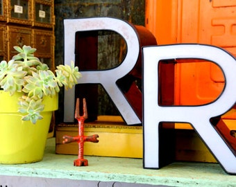 Vintage Marquee Sign Letter Capital 'R': Large Black & White Wall Hanging Initial -- Industrial Neon Channel Advertising Salvage