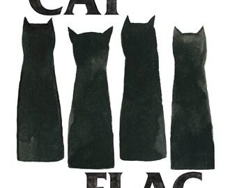 Cat Flag (Black Flag) Archival Art Print