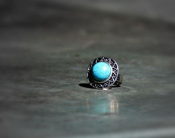 Big Chunky Turquoise Ring, Statement Ring, Antique Silver Adjustable Ring, Cocktail Fashion Rings, Blue Ring, Stacking Ring, Bold Rings