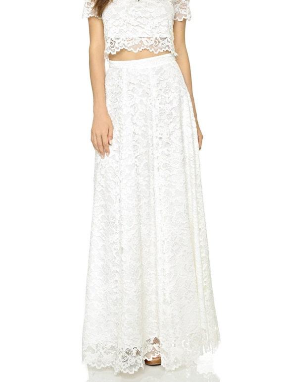 bridal lace skirt floor length maxi lace skirt high waist