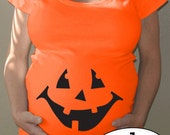 Pumpkin Maternity orange Halloween shirt - jack o'lantern face with or without hairbow - great easy maternity costume, limited edition