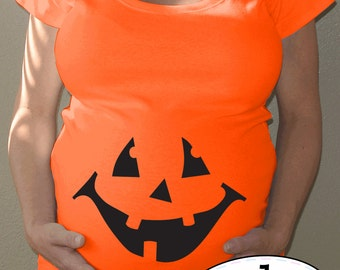 Pumpkin Maternity orange Halloween shirt - jack o'lantern face with or without hairbow - maternity costume, limited edition
