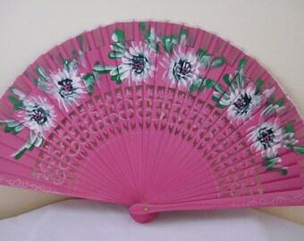 Regency/Victorian Style Fan. Handpainted, Wood. Pink. White flowers