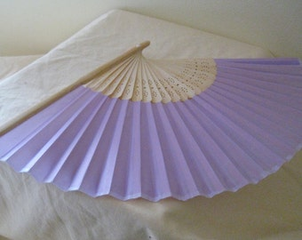 Regency/Victorian Style Fan. Lilac Plain Silky Fan. Hand Paint/Bridal Favour.