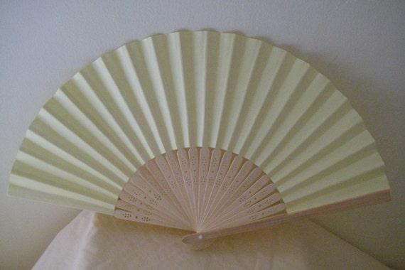 Regency/Victorian Style Fan. Primrose Yellow Plain Paper. Hand Paint/Bridal Favour.