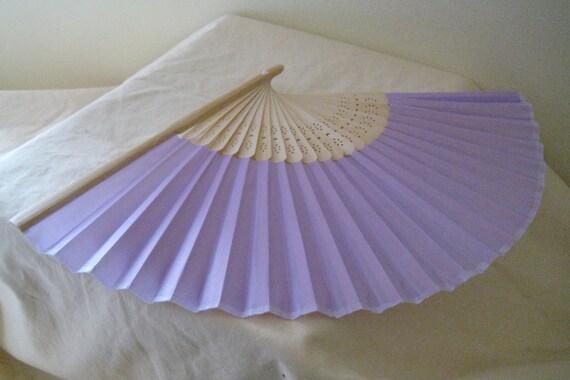 Regency/Victorian Style Fan. Lilac Plain Silky Fan. Hand Paint/Bridal Favour.