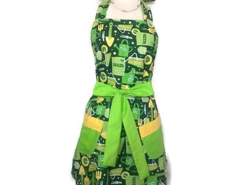 Garden Apron With Pockets, Classic Retro Green Apron, Green Ties, Bridal  Shower Gift