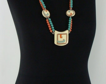 Vintage Seventies Necklace - 1970's Pendent Necklace - 70s Hippie Beaded Necklace