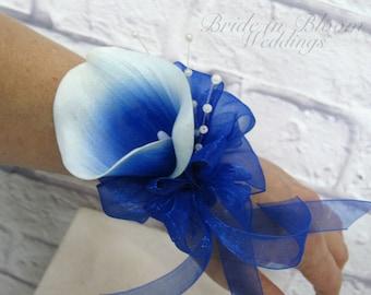 Picasso royal blue calla lily wrist corsage pearl wristlet - Wedding corsage Wedding accessories