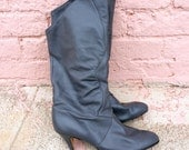 80's Grey Leather Knee High Boots - Sz 10M (women's US)