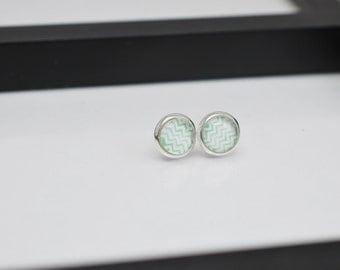 Mint Green Chevron Stud Earrings, 8mm Stud Earrings, Chevron Earrings, Small Stud Earrings, Light Green Earrings, Silver Studs,Free Shipping
