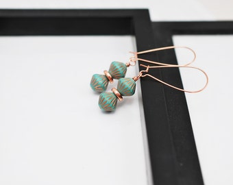 Turquoise and Copper Earrings, Turquoise Earrings, Teal Earrings, Gift for Her, Czech Glass Earrings, Copper Earrings, Drop Earrings