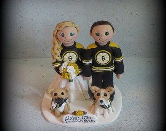Wedding Cake Topper, Custom Cake Topper, Bride and Groom with Dog, Sports Theme, Hockey, Polymer clay, Personalized