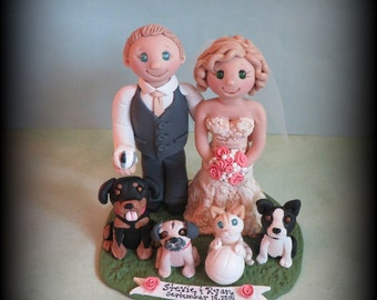 Wedding Cake Topper, Custom Cake Topper, Bride and Groom, Dog, Cat, Volleyball, Polymer Clay, Personalized, Custom Made Keepsake