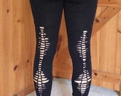 Black Leggings - Organic Cotton - slash design - Size Women's Medium